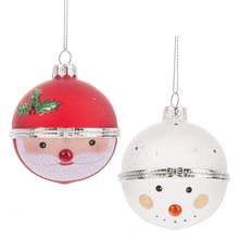 Santa & Snowman Hinged Treasure Box Ball Ornaments (6 pc. ppk.)