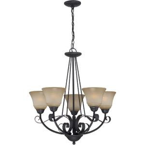 5-lite Chandelier, Dark BRONZE/L.AMBER Glass, E27 A 60wx5