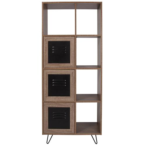 """Flash Furniture - Woodridge Collection 63""""H 5 Cube Storage Organizer Bookcase with Metal Cabinet Doors in Rustic Wood Grain Finish"""