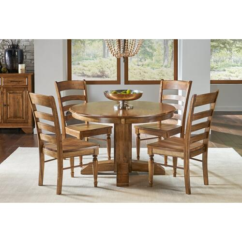 5 PIECE SET (PEDESTAL EXTENSION TABLE AND 4 SIDE CHAIRS)
