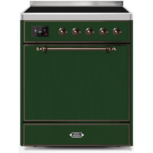 Majestic II 30 Inch Electric Freestanding Range in Emerald Green with Bronze Trim