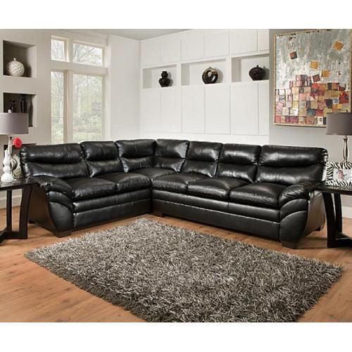 Soho Onyx Black Bonded Leather Left Face Bump Sofa