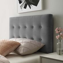 View Product - Emily Twin Biscuit Tufted Performance Velvet Headboard in Gray
