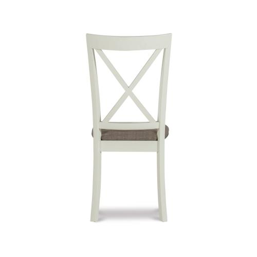 Upholstered Seat and X-back Side Chairs, White (set of 2)