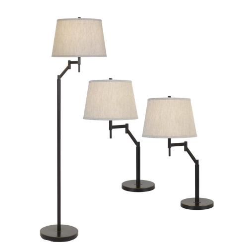 3 Pcs Package, 2 X Swing Arm Table Lamp And 1X Swing Arm Floor Lamp All in One Box