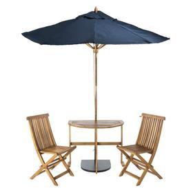 Evert Half Patio Set and Umbrella - Natural / Navy