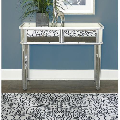 2-drawer Mirrored Console Table, Silver Wood