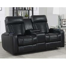 Lavon Dual-Power Leatherette Console Loveseat