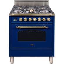 See Details - Nostalgie 30 Inch Gas Liquid Propane Freestanding Range in Blue with Brass Trim