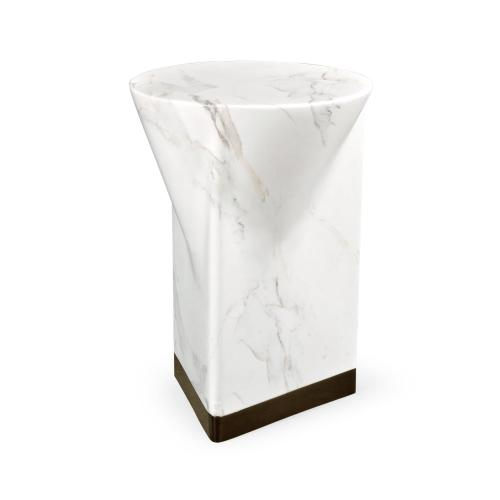 Round to L-Shape Faux White & Grey Marble End Table