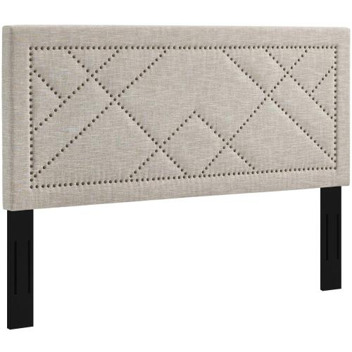 Reese Nailhead King and California King Upholstered Linen Fabric Headboard in Beige