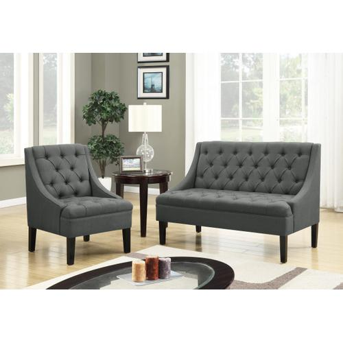 Product Image - Scoop Arm Tufted Entryway Bench in Charcoal Grey