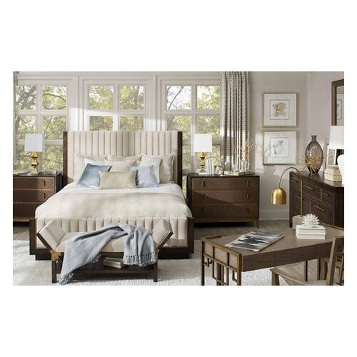 WoodWright Lloyd Brown Mulholland Upholstered California King Bed