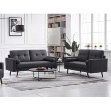 See Details - 8131 2PC DARK GRAY Linen Stationary Tufted Back Living Room SET
