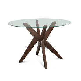 Amalie 48 inch Round Glass Top Table, Walnut color