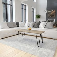 See Details - Oak Park Collection Driftwood Wood Grain Finish Coffee Table with Black Metal Legs