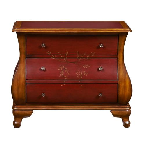 Oxblood Two-Tone Wooden Bombay 3 Drawer Chest
