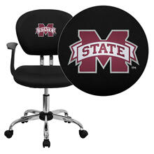 Mississippi State University Bulldogs Embroidered Black Mesh Task Chair with Arms and Chrome Base