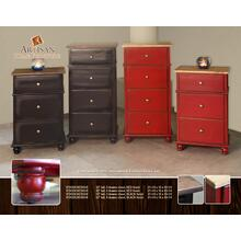 "43"" tall, 4 drawer chest, RED finish"