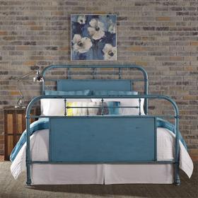 King Metal Bed - Blue