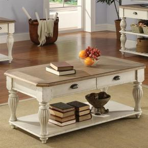 Rectangular Coffee Table - Weathered Driftwood/dover White Finish