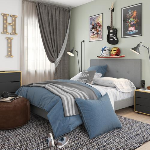 Accentrics Home - Mid-Century Modern Button Tufted Full-Sized Platform Bed in Gray