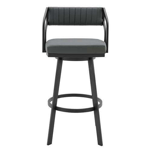 "Capri 30"" Bar Height Swivel Barstool with Black Finish and Slate Grey Faux Leather"