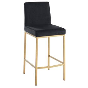 Diego 26'' Counter Stool, set of 2 in Black/Gold Legs