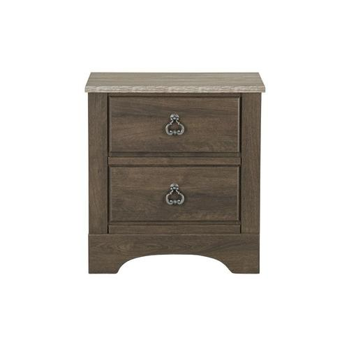 Rivervale Dark 2-Drawer Nightstand, Dark Brown