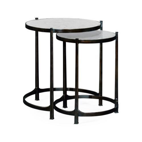 glomise & Bronze Iron Round Nest of Tables