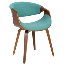Curvo Chair - Walnut Wood, Teal Fabric
