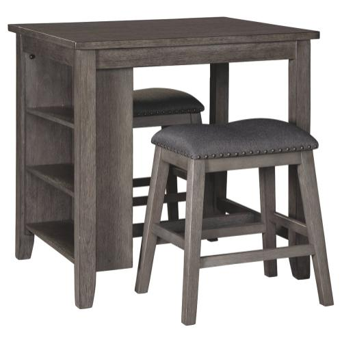 Caitbrook Storage Counter Table and 2 Stools