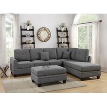 Iwan 2pc Sectional Sofa Set, Ash Black Cotton Blend