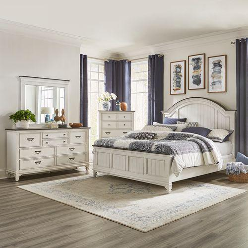 King Arched Panel Bed, Dresser & Mirror, Chest