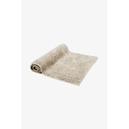 """Fray Linen and Cotton Bath Rug 23"""" x 23"""" in Ivory/Natural"""