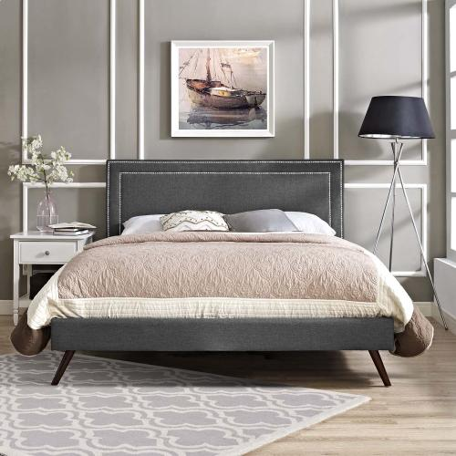 Virginia Queen Fabric Platform Bed with Round Splayed Legs in Gray