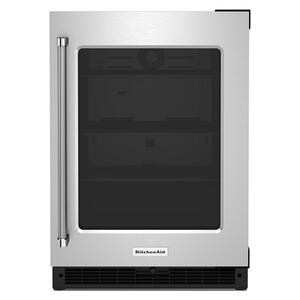 """24"""" Undercounter Refrigerator with Glass Door - Black Cabinet/Stainless Doors Product Image"""