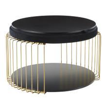Canary Coffee Table - Gold Metal, Black Mdf, Black Velvet
