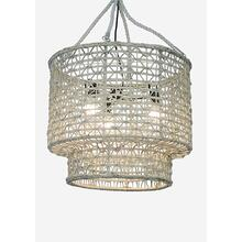 "**21"" H Double Barrel Hand Woven Natural Rope Chandelier-White Wash"