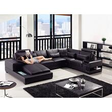 Divani Casa Diamond - Modern Black Eco-Leather Sectional Sofa