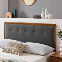 Draper Tufted Queen Fabric and Wood Headboard in Walnut Charcoal