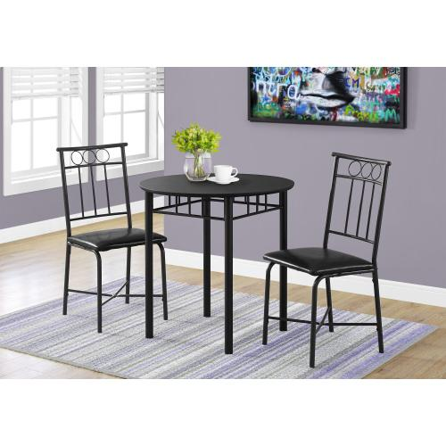 DINING SET - 3PCS SET / BLACK METAL AND TOP