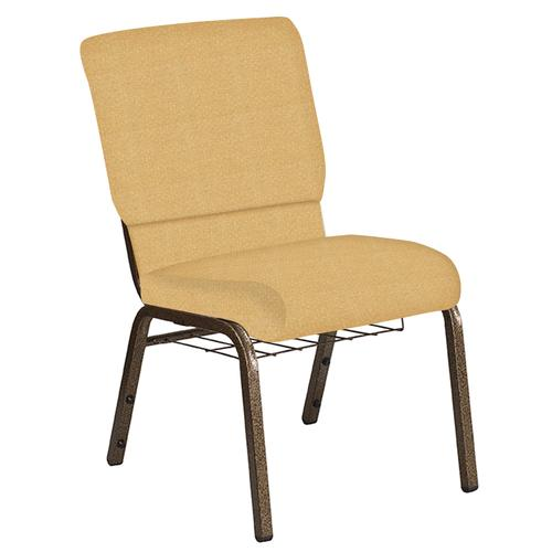Flash Furniture - 18.5''W Church Chair in Neptune Dune Fabric with Book Rack - Gold Vein Frame