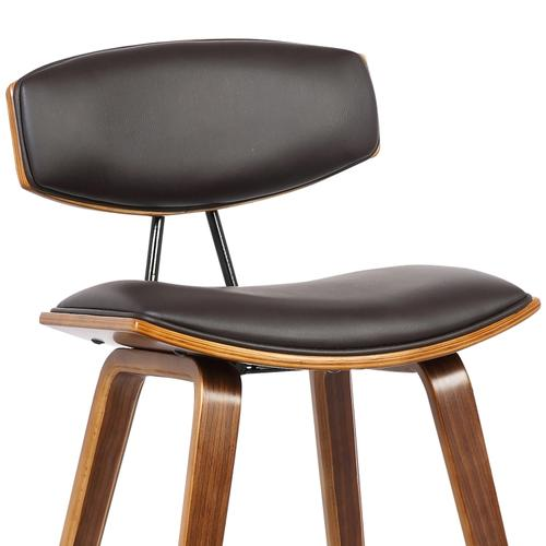 """Fox 28.5"""" Mid-Century Bar Height Barstool in Brown Faux Leather with Walnut Wood"""