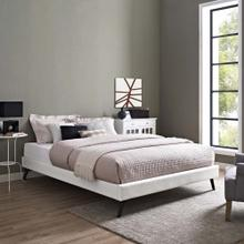 Loryn King Vinyl Bed Frame with Round Splayed Legs in White