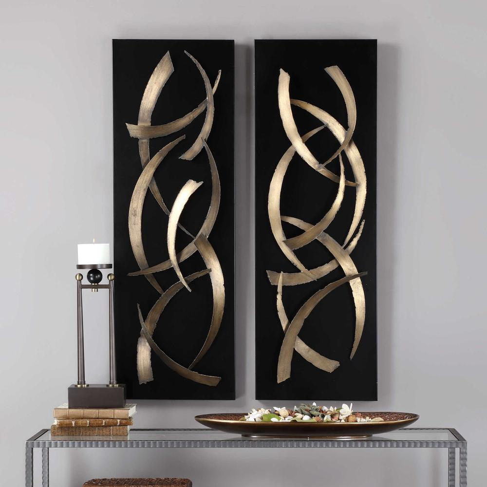 See Details - Brushstrokes Metal Wall Panels, S/2
