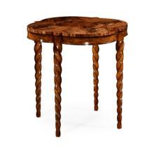 "28"" Walnut twisted leg quatrefoil side table"