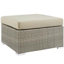 Repose Sunbrella® Fabric Outdoor Patio Ottoman in Light Gray Beige