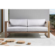 Paradise Outdoor Light Eucalyptus Wood Sofa with Grey Cushions