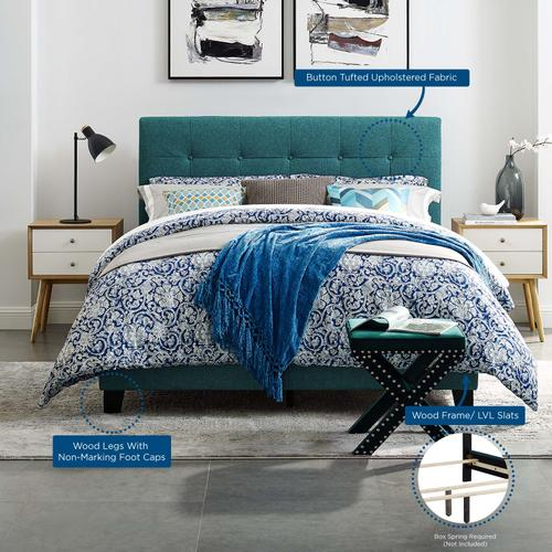 Modway - Amira King Upholstered Fabric Bed in Teal